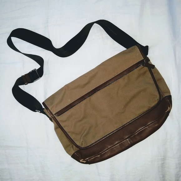 Coach leather and canvas messenger bag